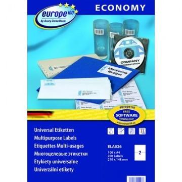 Этикетки самоклеящиеся Europe 100 белые 52.5х29.7 мм (40 штук на листе А4, 100 листов, артикул производителя ELA049)