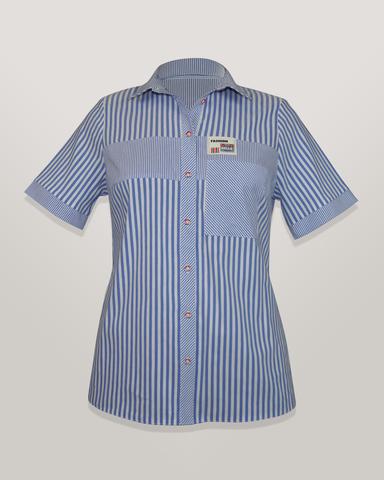 Блузка HAT рубашка карман надписи полоска к/р