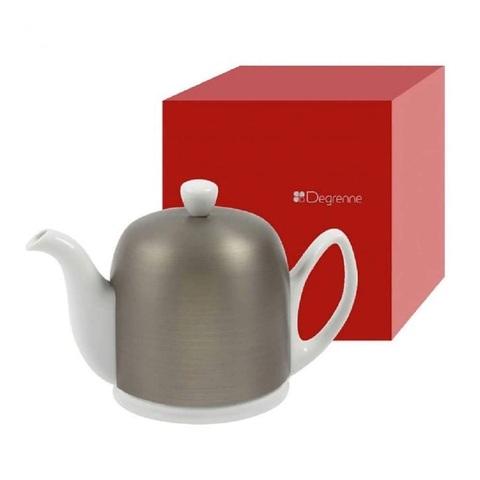 Фарфоровый заварочный чайник на 4 чашки с цинковой крышкой, белый, артикул 216412,