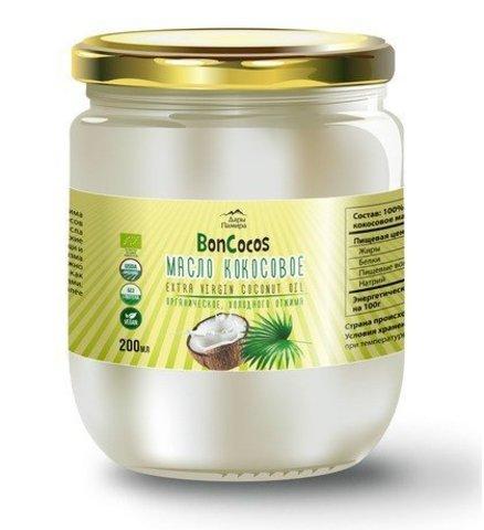 Масло кокосовое холодного отжима (Virgin Coconut Oil), BONCOCOS, органика, 200мл, ст/б