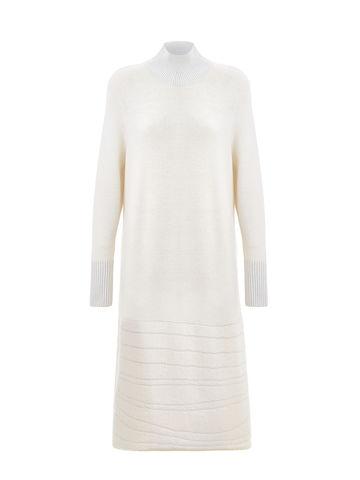 Женское платье молочного цвета из мохера и вискозы - фото 5
