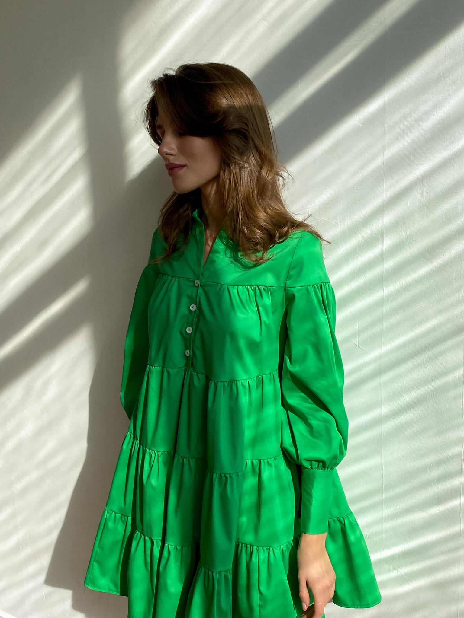Платье ярусное мини из хлопка (травяной)