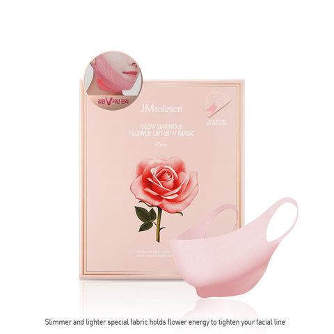 Набор масок для подтяжки контура лица с цветочными экстрактами GLOW LUMINOUS FLOWER LIFT-UP V MASK Rose