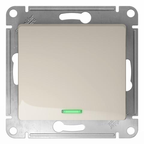 Переключатель одноклавишный с подсветкой, 10АХ. Цвет Молочный. Schneider Electric Glossa. GSL000963