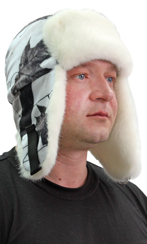 Шапка-ушанка тк. Алова Белый ЛЕС на флисе (опушка белый мех под норку)