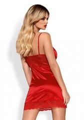 Сорочка красная с глубоким декольте и трусики