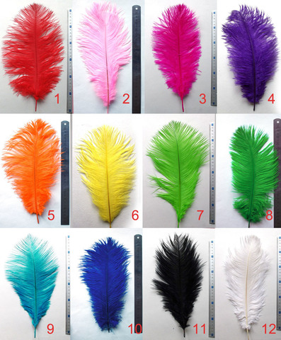 Перья страуса  декоративные 30-35 см. Уценка, категория 1(выбрать цвет)