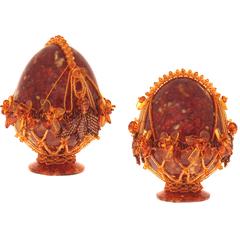 Сувенирное Пасхальное яйцо (натуральный янтарь, бисер), АВ-0754