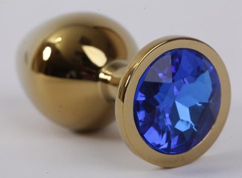 Анальная пробка золото с синим стразом 9,5х4см, сталь