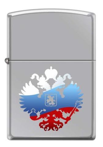 Зажигалка Zippo Двуглавый орёл, латунь/сталь с покрытием High Polish Chrome, серебристая, 36x12x56мм