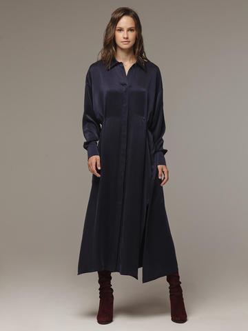 Женское темно-синее платье из 100% шелка - фото 1