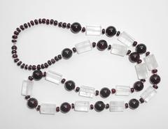 Ожерелье из граната и горного хрусталя, 63 см