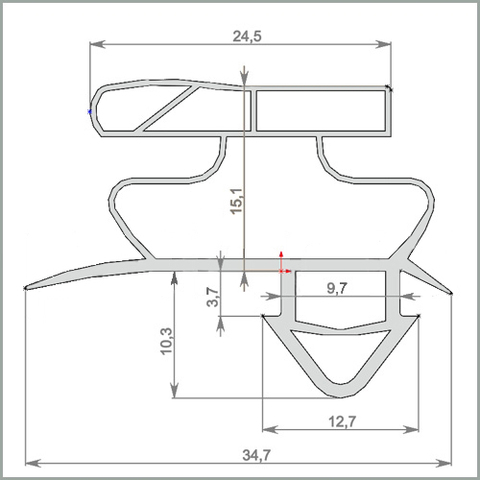 Уплотнитель для холодильного шкафа Vestfrost FKG 371(стекло) 1635*570 мм по пазу(027 АНАЛОГ)