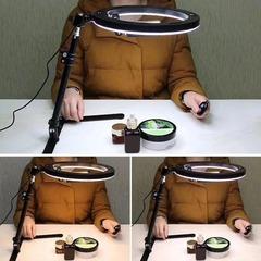 Кольцевая светодиодная лампа 26 см настольная на штативе