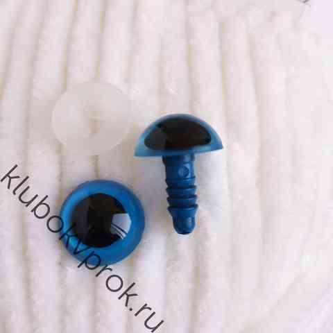 Глаза пластиковые с фиксатором 14 мм, 1 пара, голубые