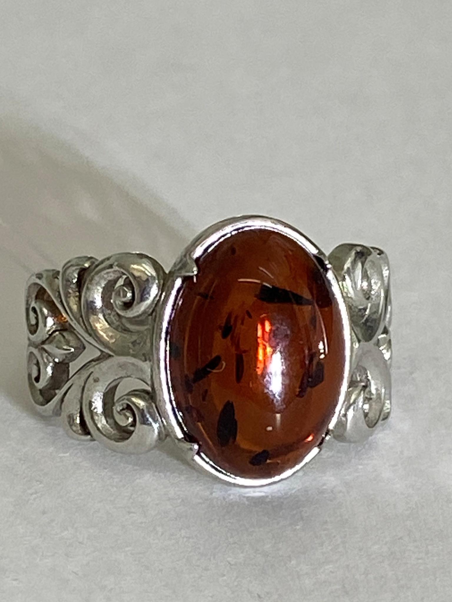 Янтарь 1201 (кольцо из серебра)