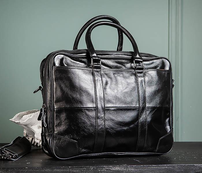 BAG491-1 Мужской кожаный деловой портфель черного цвета фото 02
