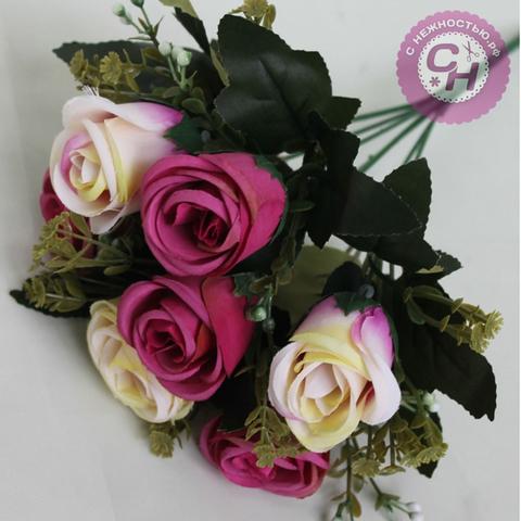 Розы искусственные высокие, букет 7 голов с добавкой, 30 см.