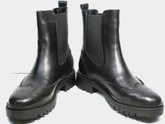 Женские ботинки из натуральной кожи Jina 7113 Leather Black