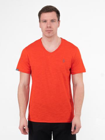 Мужская футболка «Великоросс» кораллового цвета V ворот