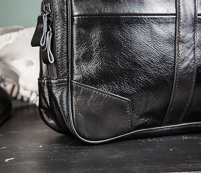 BAG491-1 Мужской кожаный деловой портфель черного цвета фото 03
