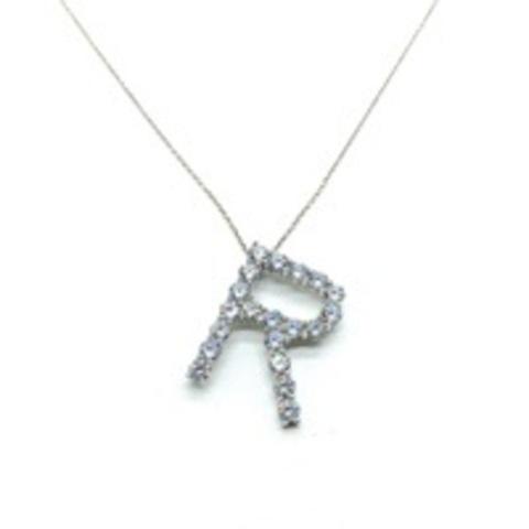 Подвеска буква R из серебра с цирконами бриллиантовой огранки