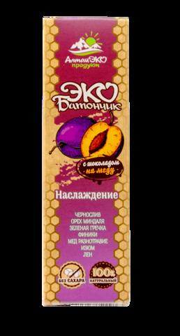Эко-батончик с шоколадом на меду «Наслаждение» без сахара, 45 г