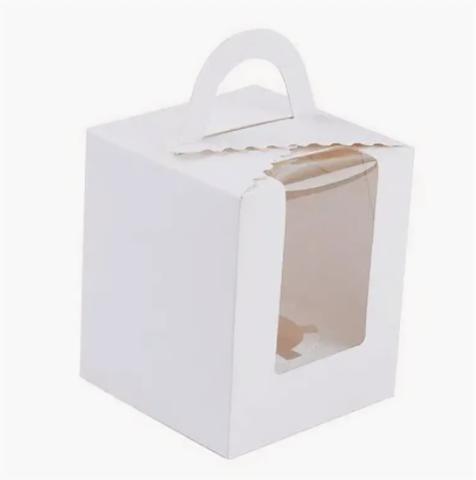 Коробка для 1 капкейка, с окном и ручкой, белая