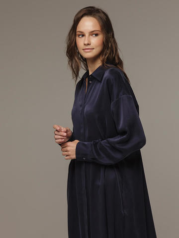 Женское темно-синее платье из 100% шелка - фото 2