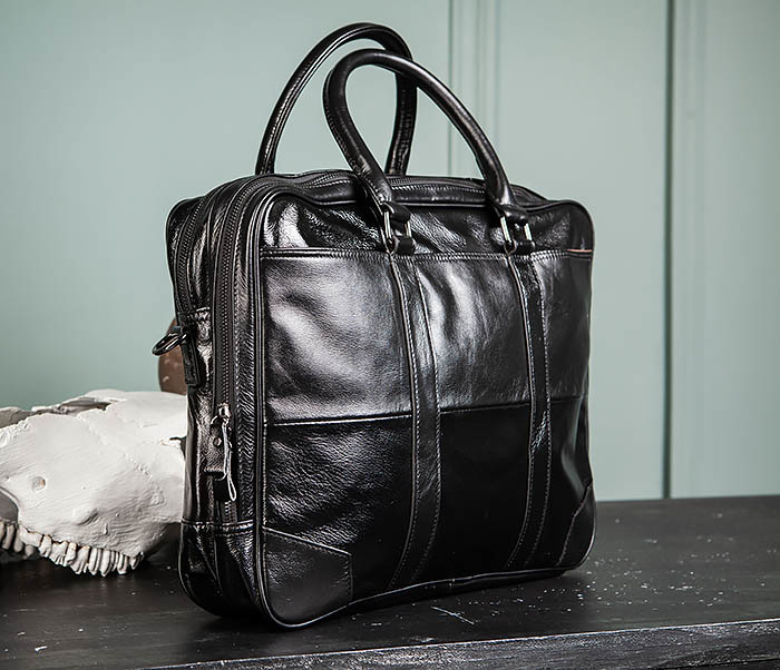 BAG491-1 Мужской кожаный деловой портфель черного цвета фото 04