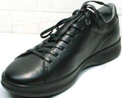 Черные кеды туфли спортивные мужские кожаные осень весна Ikoc 1725-1 Black.