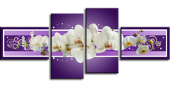 """Модульная картина """"Белые орхидеи"""""""