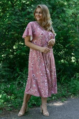 Илона. Красивое платье больших размеров. Цветы пудра.