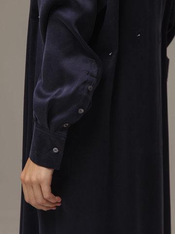 Женское темно-синее платье из 100% шелка - фото 4