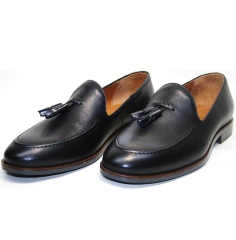 Мужские туфли лоферы классические. Тассел лоферы Ikoc-BlacK. размер 39