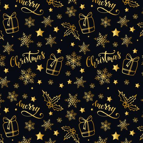 Новогодний паттерн Merry Christmas gold
