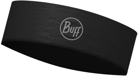 Узкая спортивная повязка на голову Buff Headband Slim CoolNet R-Solid Black фото 1