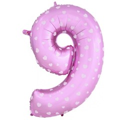 К Цифра, 9, Розовый, 40''/102 см, 1 шт.