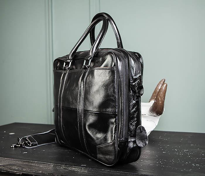 BAG491-1 Мужской кожаный деловой портфель черного цвета фото 06