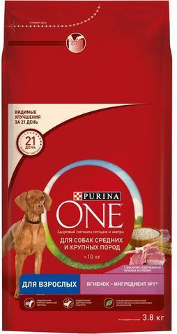 Purina One Сухой корм для собак средних и крупных пород с ягненком и рисом