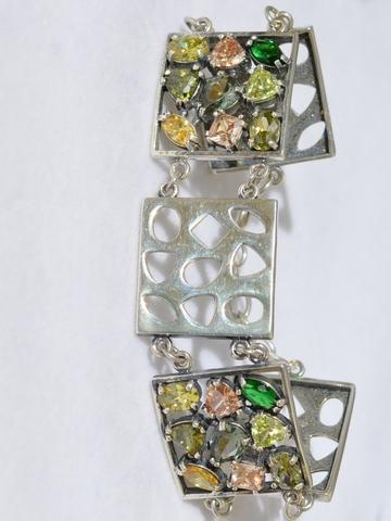 Мозаика (серебряный браслет)