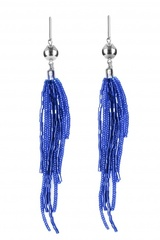 Серьги-каскад бисерные синие