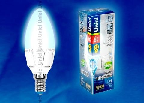 Uniel Лампа LED-C37-6W/NW/E14/FR Palazzo (свеча белый свет)