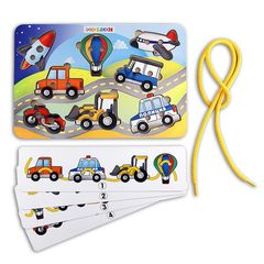 Развивающая игра шнуровка Транспорт (трактор, мотоцикл, самолет, ракета), Smile Decor
