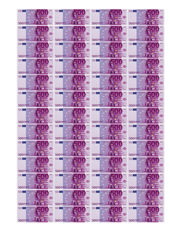 Вафельная бумага, Набор Купюр 500 Евро 5