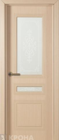 Дверь Крона Стиль, стекло матовое с рисунком, цвет беленый дуб, остекленная