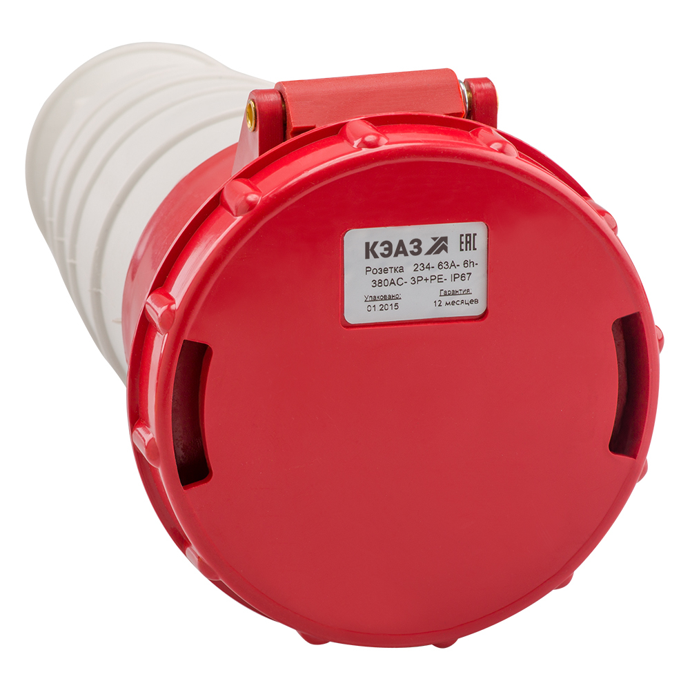 Розетка кабельная 234-63A-6h-380AC-3P+PE-IP67