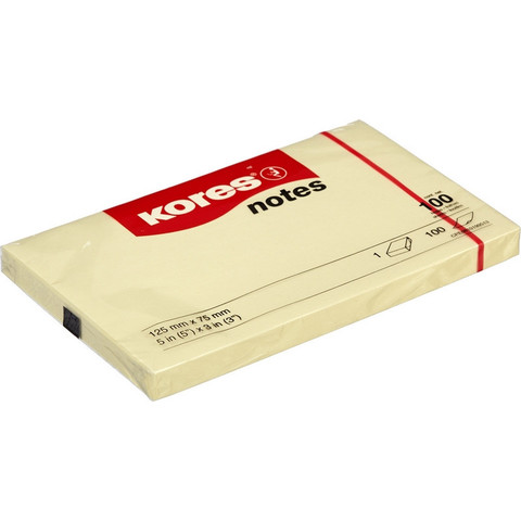 Стикеры Kores 125x75 мм пастельные желтые (1 блок, 100 листов)