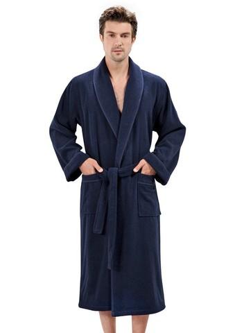 LORD  ЛОРД синий махровый мужской халат SOFT COTTON (Турция)