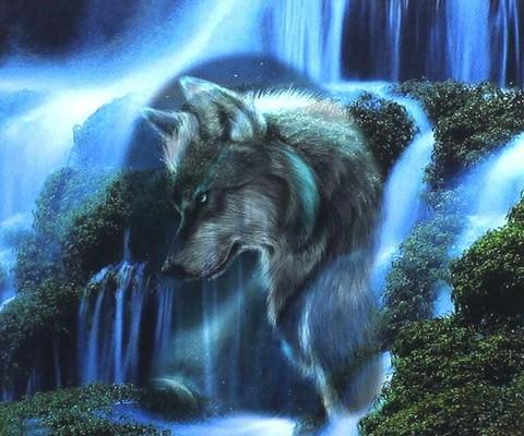 Алмазная мозаика 20х30 Волк и лес (арт. TC3209)